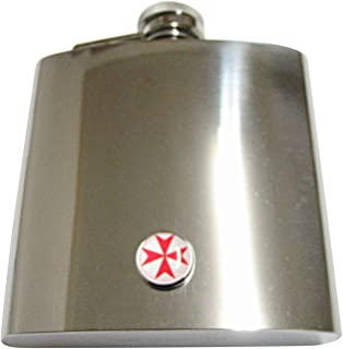 Red Maltese Cross 6 Oz. Stainless Steel Flask