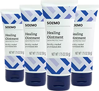 Amazon Brand - Solimo Healing Ointment for Dry & Cracked Skin, 1.75 Ounce (Pack of 4)