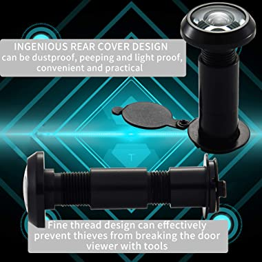 """Safety Door Viewer Peephole Eyes – Door Eyehole 220 Degrees Wide HD Field of View, Mounting Hole Diameter 0.55"""", for 1.18&#34"""