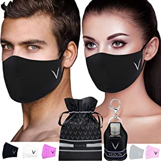 Face mask for women washable black Set of 5 pcs: case organizer, sanitizer holder case and bottle, cotton 7 layer reusable...