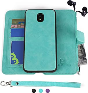 MODOS LOGICOS Samsung Galaxy J3 2018 Case, [Detachable Wallet Folio][2 in 1][Zipper Cash Storage][Up to 14 Card Slots 1 Photo Window] PU Leather Purse with Removable Inner Magnetic TPU Case - Teal