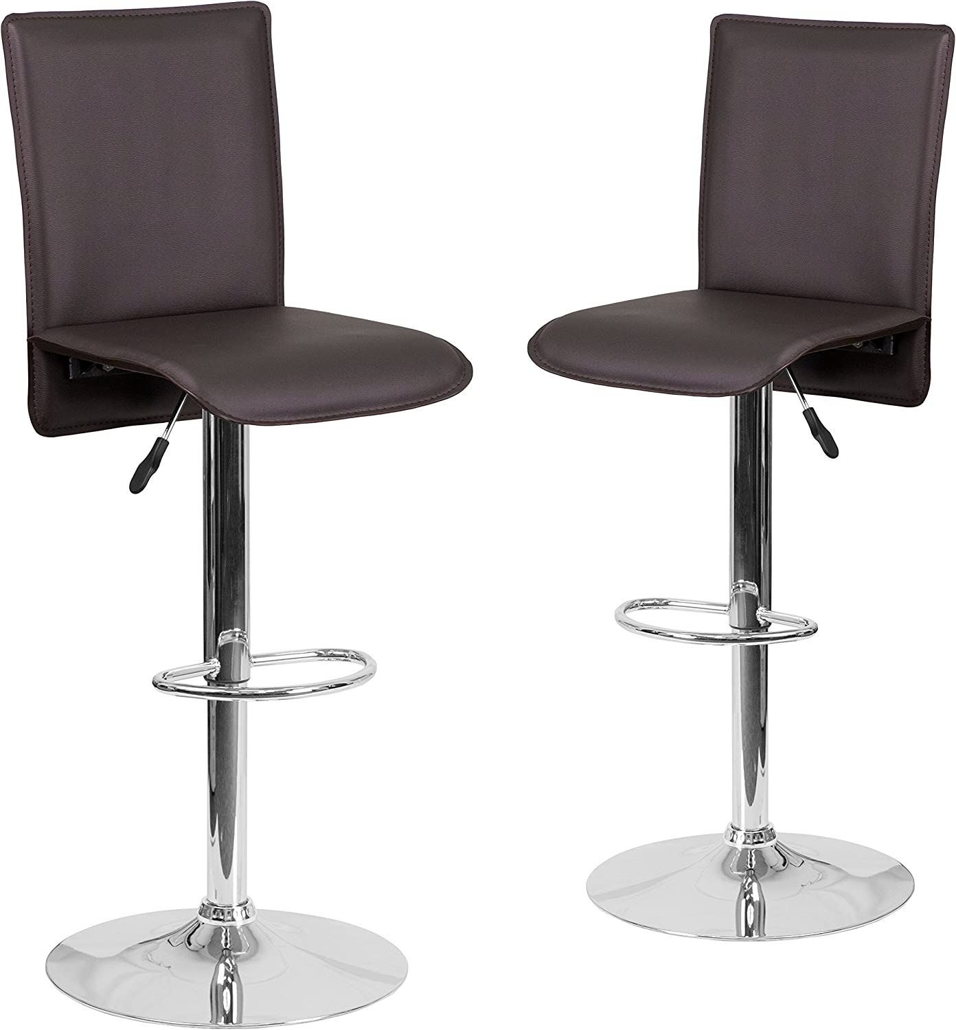 Flash Furniture 2-CH-TC3-1206-BRN-GG 2-Pack Contemporary Brown Vinyl Adjustable Height Barstool with Chrome Base