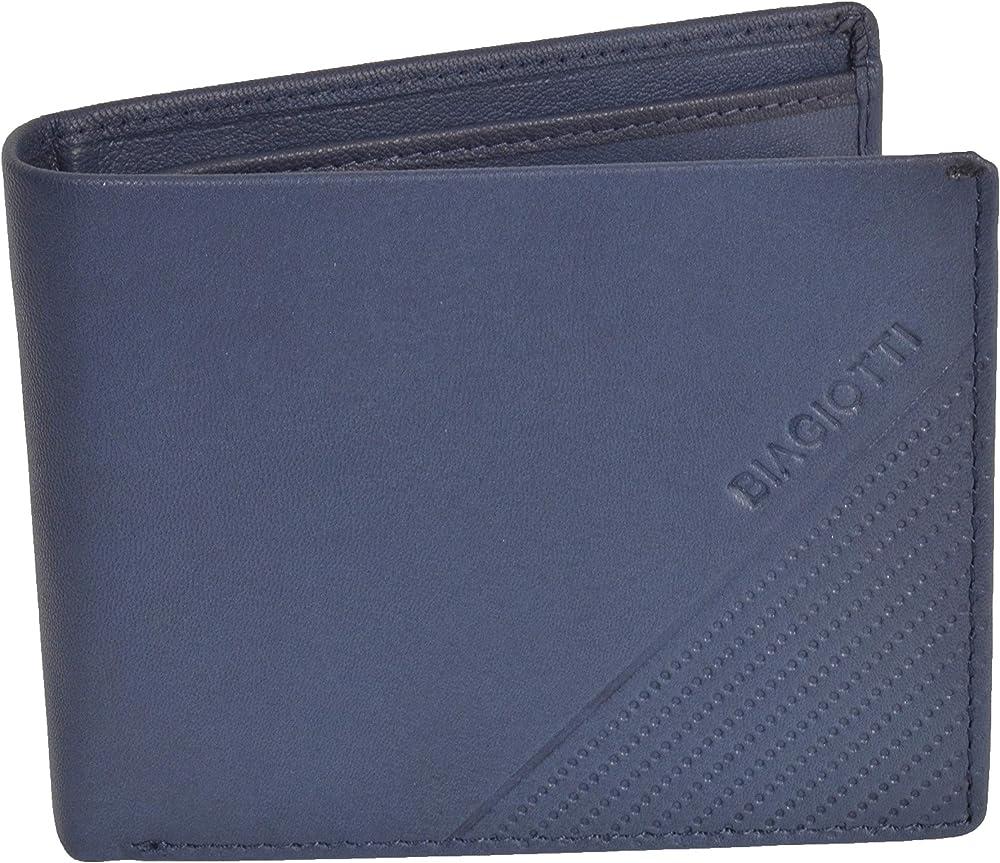 Laura biagiotti uomo, portafoglio , porta carte di credito in vera pelle, Blu 763