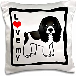"""3dRose pc_15361_1 Love My Cocker Spaniel black and White-Pillow Case, 16 by 16"""""""