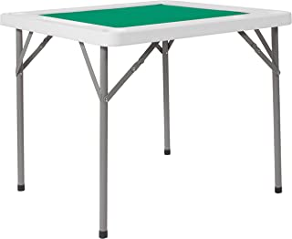 Flash Furniture 34.5'' Square Granite White Folding Game Table with Green Playing Surface - DAD-MJZ-88-GG