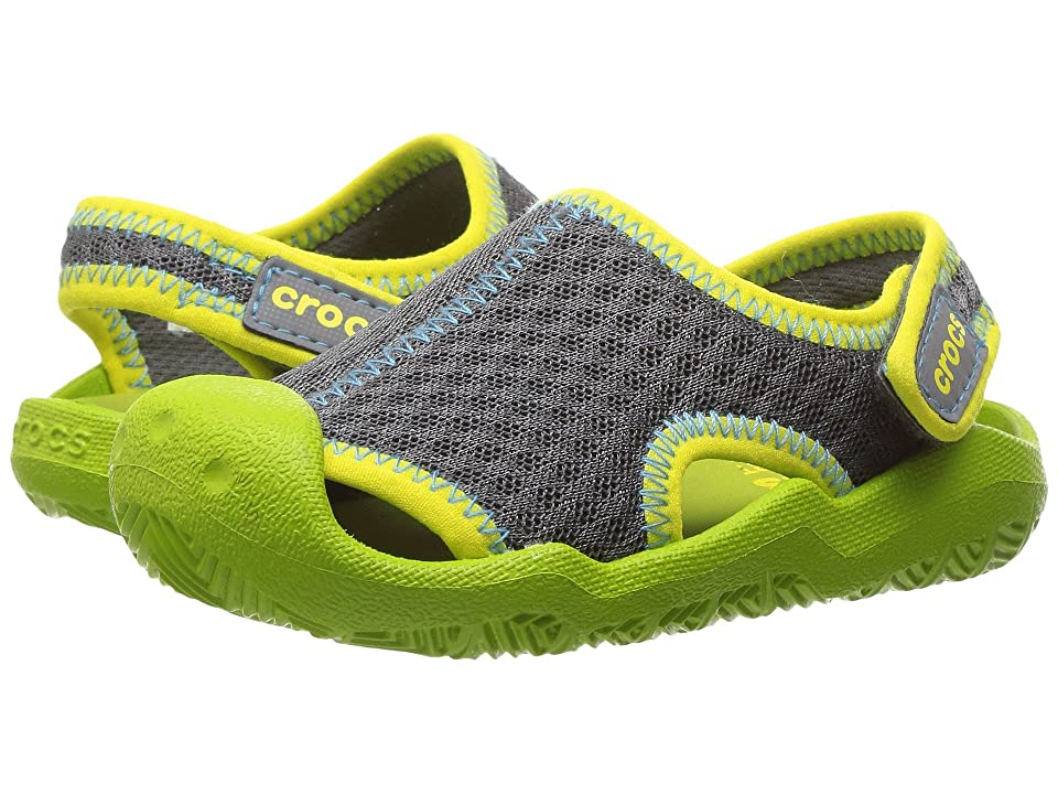 Crocs Kids Swiftwater Sandal (Toddler/Little Kid) (Graphite/Volt Green) Kids Shoes