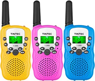 Tintec 3 Pack Walkie Talkies, 22 Channels 2 way Radio Toy with Backlit LCD Flashlight, 3 Miles Range for Kids, Outdoor Adv...