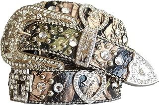 western cowgirl green camo rhinestone cross heart concho buckle belt L