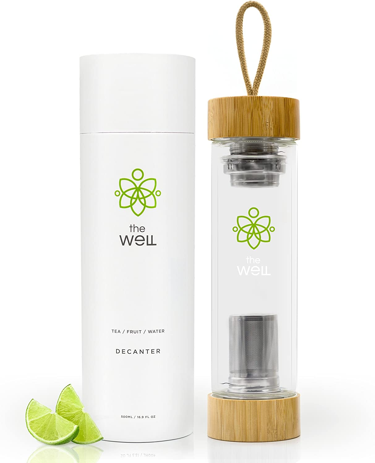 The Well 2.0 Double Walled Tea Bottle with Bamboo Lids (17oz)