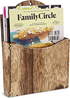 Juvale Rustic Wood Wall Mounted Magazine Holder