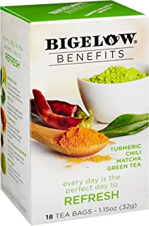 Bigelow Benefits Refresh Turmeric Chili Matcha Green Tea Box of 18 Teabags (Pack of 6) Caffeinated Individual Herbal Tisane Bags, for Hot Tea or Iced Tea, Plain or Sweetened with Honey or Sugar