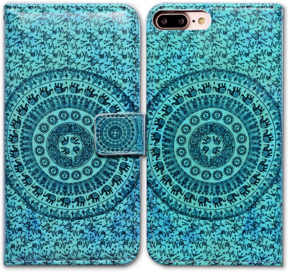 iPhone 7 Plus Case, Bfun iPhone 7 Plus Case, iPhone 8 Plus Case, Bcov Elephant Mandala Leather Flip Wallet Case Phone Cover with Card Slot Holder Kickstand for iPhone 8 Plus / 7 Plus