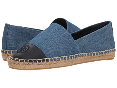Tory Burch Color Block Flat Espadrille (Denim Chambray) Women