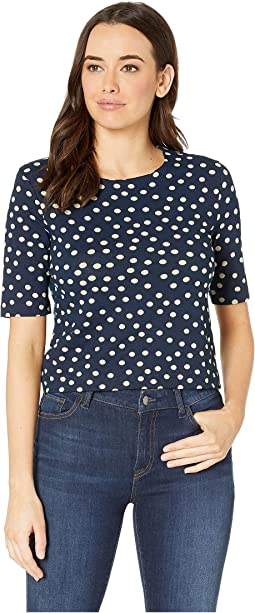 Spring Dot Print Elbow Sleeve Crop Top