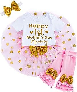 Happy 1st Mother's Day Newborn Infant Baby Girls Romper+Tutu Pink Dot Skirt+Headband+Legging Warmer 4Pcs Clothes Set
