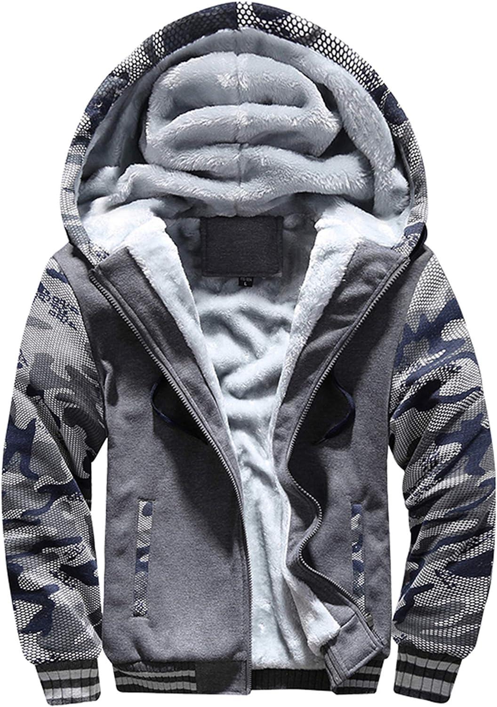 MACHLAB Men's Pullover Winter Workout Fleece Hoodie Jackets Full Zip Wool Warm Thick Coats