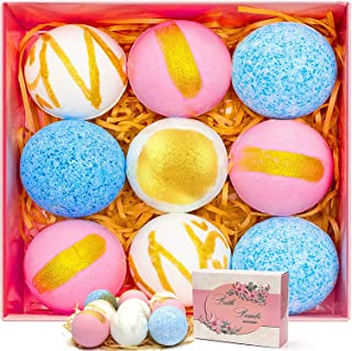 HOVNEE Bath Bombs Gift Set for Mom Mother, 9 Pack Bath Ball Fizzies with Natural Essential Oils, Organic Bubble Bath Spa f...