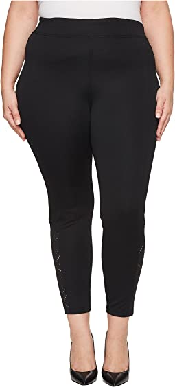 HUE - Plus Size Laser Cut Ponte Leggings