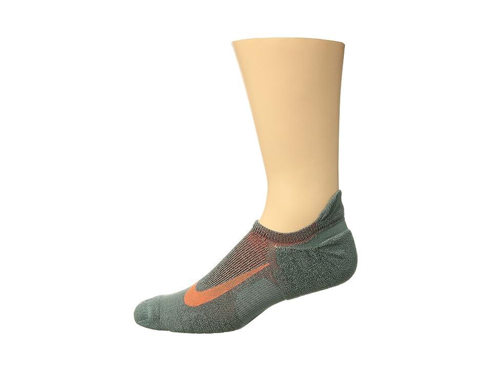 Nike Elite Merino Cushioned No Show Running Socks (Clay Green/Sequoia/Hyper Crimson) No Show Socks Shoes