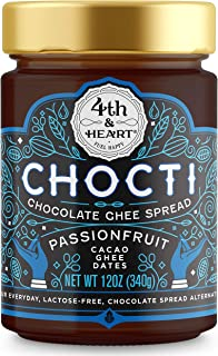 Chocti Chocolate Passionfruit Ghee Cacao Spread by 4th and Heart, 12 Ounce, Grass-fed, Lactose-free, Certified Paleo and Keto