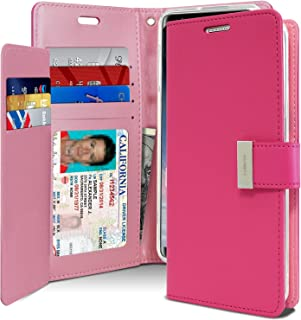 Goospery Rich Wallet for Samsung Galaxy Note 8 Case (2017) Extra Card Slots Leather Flip Cover (Hot Pink) NT8-RIC-HPNK