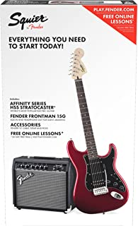 Squier by Fender Affinity Series Stratocaster Beginner Electric Guitar Pack - HSS - Candy Apple Red