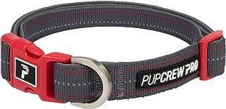 Pup Crew Pro Pathfinder 项圈,带有氯丁橡胶衬垫和反光吸管 快速红色 小号