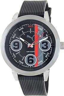 Men's 369 PU103361001 Black Rubber Analog Quartz Watch with Black Dial