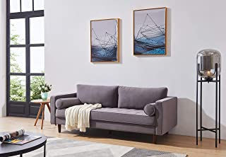 Mid-Century Modern Sofa,Aplos 79 inch Wide feet Velvet Fabric Bench Sectional Couch Sofa(Gray)