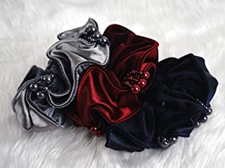 Velvet hair scrunchie with shine bead ponytail Holder Tie Glam look 3 color mix (Set 3)