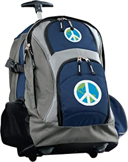 Peace Sign Rolling Backpack Deluxe Navy World Peace Sign Backpacks Bags with Wh