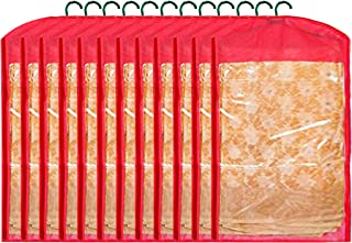 Kuber Industries 12 Pieces Non Woven Hanging Saree Cover Wardrobe Organiser With Hanger (Red) - CTKTC30949