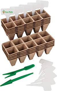 Seed Starter Trays - Organic Plant Peat Pots - Biodegradable Seedling Planting Kit for Indoor & Outdoor Plants, 100 Cell Pack with Bonus 10 Plastic Plant Markers, Perfect for Pot Seedling