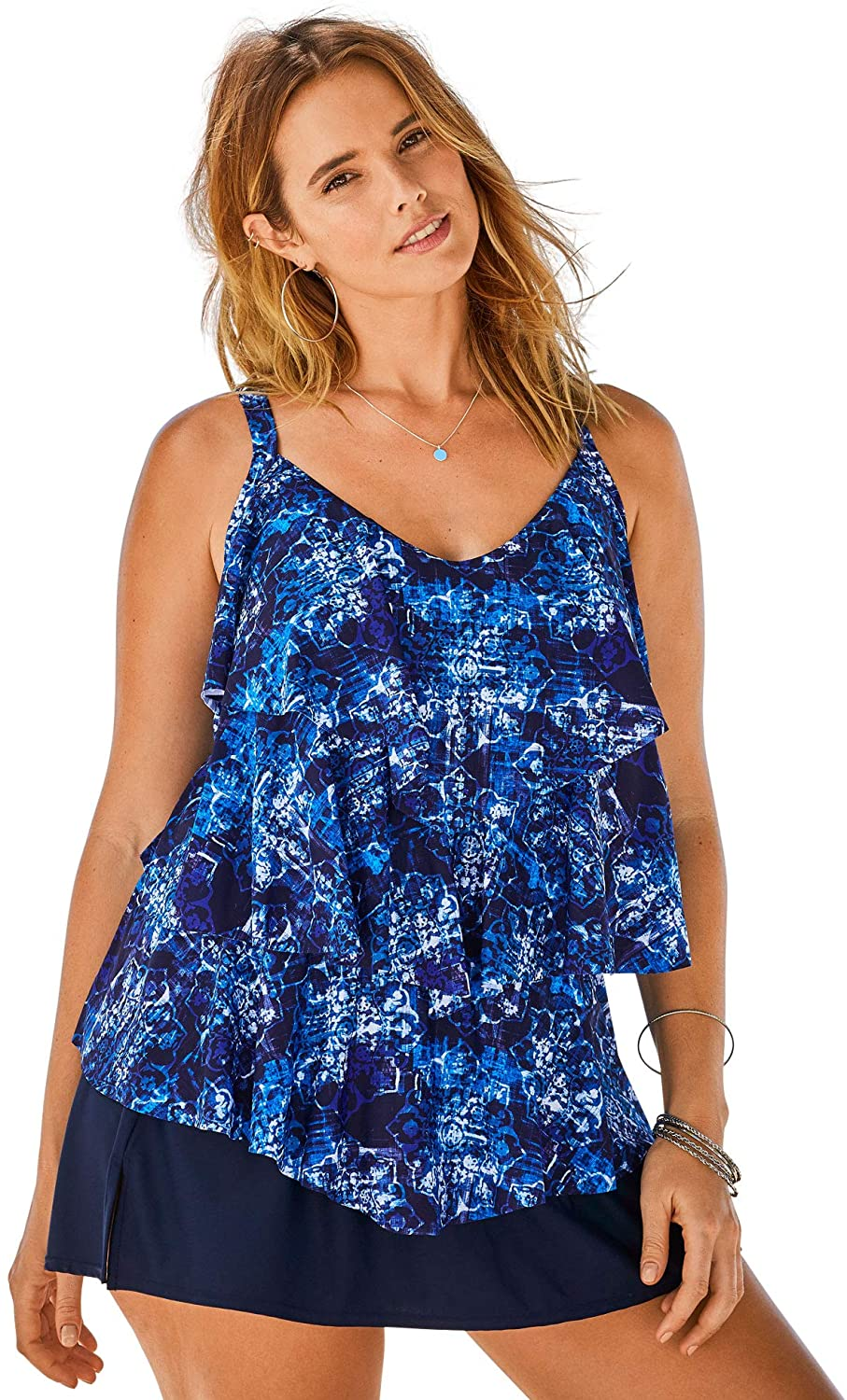 Swimsuits Store For All Women's Ranking TOP12 Plus Tankini Size Tiered-Ruffle Top