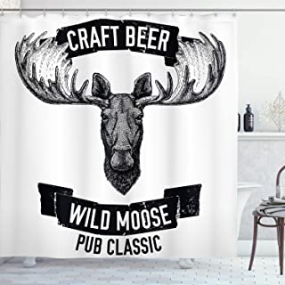 Ambesonne Man Cave Decor Shower Curtain by, Craft Beer Wild Moose Pub Classic Antelope Deer Head with Antlers Label, Fabric Bathroom Decor Set with Hooks, 70 Inches, Black and White