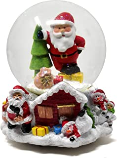 """Gift Boutique Musical Christmas Snow Globe Decoration 5.5"""" Glitter Dome Water Globes Santa Snowman Winter Tree Glass Ball Collectible Decor"""