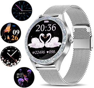 Smart Watch for Women, ANYTEC Fitness Tracker Smartwatch Bluetooth Compatible with Android iPhone, Slim Stainless Steel Ladies Watches