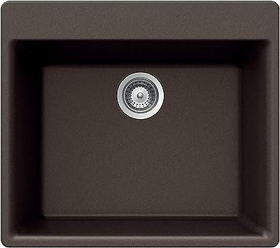 Houzer G-100 MOCHA Quartztone Series Granite Top Mount Single Bowl Kitchen Sink, Mocha