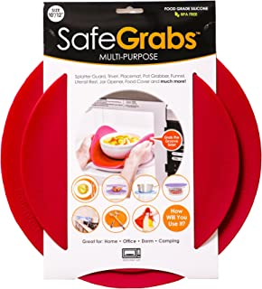 Safe Grabs: Multi-Purpose Silicone Original Microwave Mat as Seen on Shark Tank | Splatter Guard, Trivet, Hot Pad, Pot Holder, Minimize Mess (BPA Free, Heat Resistant, Dishwasher Safe), Set of 2, Red