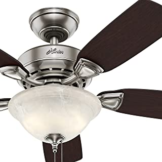 Hunter Fan 44 inch Brushed Nickel Finish Ceiling Fan with Painted Cased White Glass Light Kit - 90% Pre-assembled (Renewed)