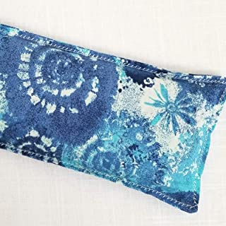 Handmade Eye Pillow Eucalyptus Mint Heat or Cold Pack for Migraine or Hangover Relief, Magical Herbal Blend with Essential Oils - Get Well Gift - Blue Tie Dye Print