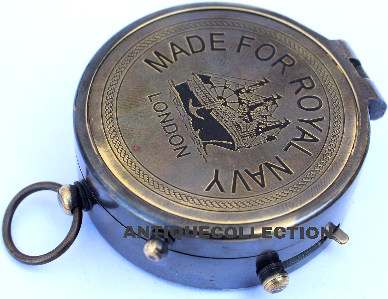 ANTIQUECOLLECTION Nautical Brass Compass Royal Navy Pocket Compass Antique Finish Flap Compass