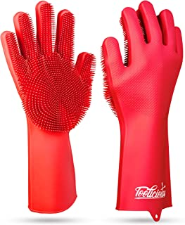 Sponsored Ad - Magic SakSak Reusable Silicone Dishwashing Gloves | Pair Of Rubber Scrubbing Gloves For Dishes | Wash Clean...