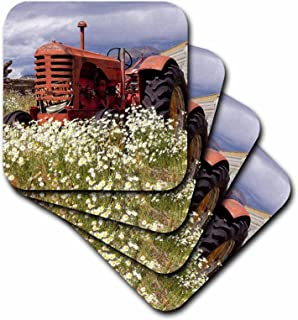 3D Rose Image of Vintage Tractor Out in The Country with Wild Flowers Soft Coasters, Multicolor