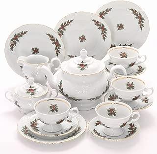 Tea With Grace Christmas Berry Fine China Tea Set for Four
