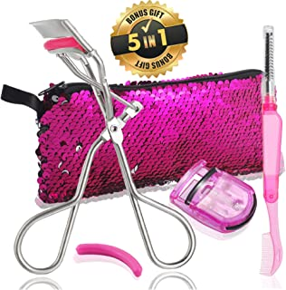 Eyelash Curler 5 in 1 Set | Eyelash Curler, Mini Curler, Eyelash Brush, Extra Refill Pad in Cute Sequin Bag | Newest Design for All Eyes Straight or Round (Pink Silver) (silver)