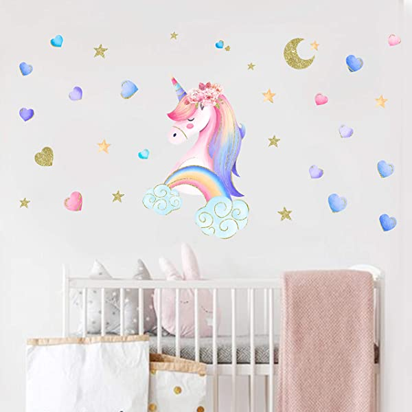 Navychief Unicorn Wall Decals Rainbow Star Wall Decal Stickers Unicorn Decor Watercolor Style Decor Stickers For Girls Bedroom Baby Nursery