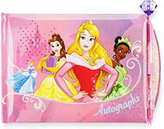 Disney Princess Autograph Book Featuring Cinderella, Belle, Aurora, Tiana, Jasmine, and Snow White Gemstone Topped Pen