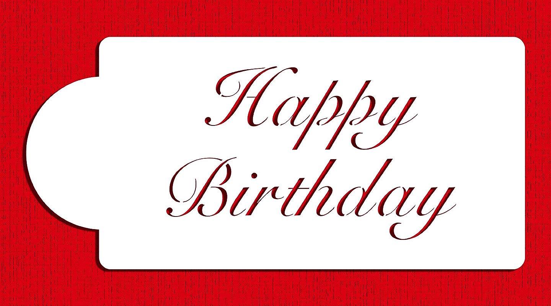 Designer Stencils C241 Fancy Happy Birthday Cake Stencil Beige Semi Transparent