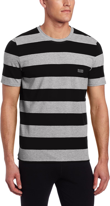 BOSS HUGO Men's Stripe Max 42% OFF Shirt Popular product Lounge Neck Crew